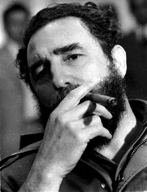 Castro Smoking a Cigar